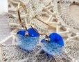 画像1: *SWAROVSKI * Blue heart * サージカルステンレス ピアス  (1)