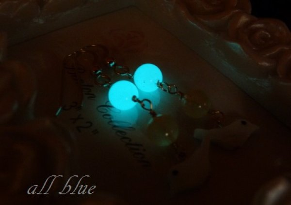 画像1: 【人気運を高める・金運】ルミナスストーン(夜光石)*アラゴナイト*マザーオブパール *小鳥*ピアス 14kgf