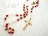 【ロザリオ】アンティーク*Y字ネックレス チェコビーズ×水晶 フィッシャー 十字架